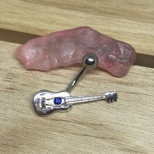 Blue gem guitar non dangle belly button ring 14 gBoutique for sale
